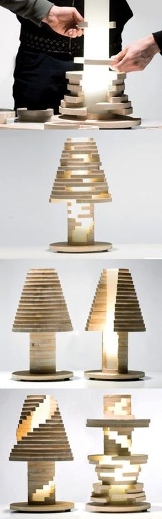 Babele Lamp by Lapo Germasi, Gregorio Fracassi, Victor Pukhov, Francesco Massimello: Is it a lamp? Is it a toy? Best of both? #Lamp #Puzzle #Wood