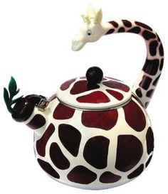 Animal Kettle 2.5 Quart Whistling Enamel on Steel Giraffe Tea Kettle. Totally thought of my sister when i saw this!