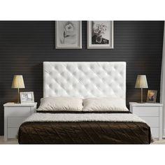 Respaldo y velador lacados en blanco con tiradores - Respaldos para camas ...