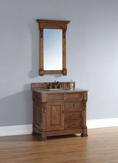 """James Martin 147-114-5576-DSC Brookfield 36"""" Country Oak Single Vanity w/ Drawers with Santa Cecilia Stone Top"""