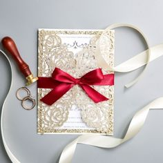 Classic Gold Shimmer Glittery Laser Cut Wedding Invitations with Red Ribbon Bow, Fall Winter Weddings, DIY Wedding Invitations, Free envelopes - Wedding Invitations - Wedding Invites Paper Fall Wedding Bouquets, Fall Wedding Flowers, Diy Wedding Favors, Wedding Centerpieces, Wedding Decorations, Mauve Wedding, Backdrop Wedding, Purple Wedding, Wedding Cake