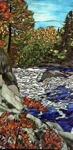 Fall At Temperance River - Mosaic by Debra D'Souza