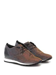 Donna Carolina - Sneakers - Donna - Sneaker in tessuto lurex e pelle laminata su retro con lacci elasticizzati e suola in gomma. Tacco 30, platform 15 con battuta 15. - SILVER\BRONZO - € 139.00