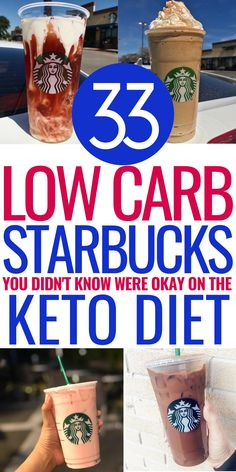 33 Low Carb Starbucks Drinks Keto Dieters Can Enjoy These 33 starbucks drinks you can enjoy on the keto diet have been kept a secret for awhile now! You can now check out these starbucks drinks and enjoy low carb keto starbucks drinks without the guilt! Low Carb Starbucks Drinks, Low Carb Drinks, Diet Drinks, Healthy Drinks, Healthy Eating, Starbucks Recipes, Starbucks Coffee, Beverages, Ketogenic Diet Meal Plan