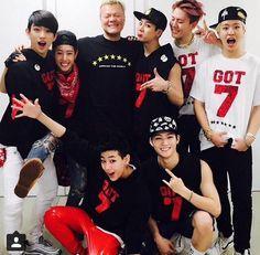 Papa JYP posing with his boys GOT7