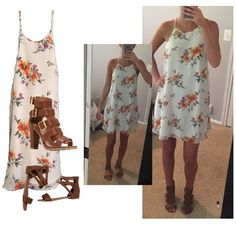 white floral dress beautiful white floral dress ! back buttons behind the neck. worn 1x. 100% polyester. feel free to ask any questions!  ❌ no trades ❌ no PayPal ❌ no asking for the lowest price Dresses Mini