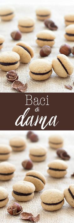 Baci di Dama ( Italian Hazelnut Cookies): buttery hazelnut cookies filled with a dollop of dark chocolate or Nutella recipe dessert easy Desserts Keto, Brownie Desserts, Mini Desserts, Easy Desserts, Delicious Desserts, Dessert Recipes, Plated Desserts, Italian Cookie Recipes, Italian Cookies