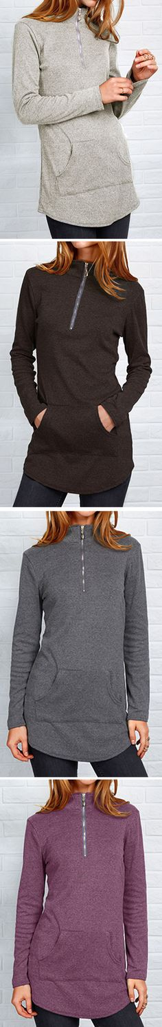 Flare with this slim top-$18.99 Only with free shipping&easy return! This long zipper top is detailed with kangaroo pocket&shirt collar! You need such a top this fall at Cupshe.com !