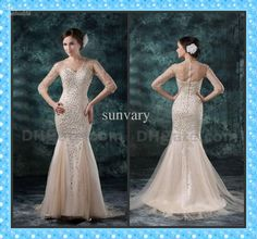 Wholesale New Arrival Prom Dress With Sleeves Mermaid V-neck Beaded Floor Length Tulle Evening Dresses, Free shipping, $173.6-184.8/Piece | DHgate