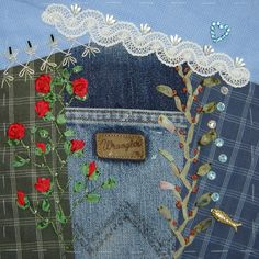 I've imagined including bits and pieces of various family members traits, jobs, etc. in a crazy quilt, although I imagined a much more traditional quilt, I really like this idea.