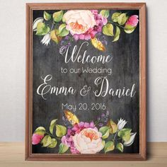 Printable Wedding Welcome sign Welcome to our wedding Custom Wedding Sign Bohemian rustic floral wedding sign printable Welcome Poster