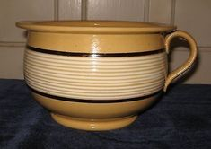 Yellow Bowls, Antique Stoneware, Vintage Bowls, Wood Display, Antique Shops, Wonderful Things, Old And New, Black Stripes, Mocha
