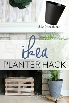 This Ikea planter hack is a genius idea for house plants. Transform a cheap trash can with chalk paint to make the perfect planter. Ikea Planters, Large Planters, Diy Planters Outdoor, Window Planters, Modern Planters, Planter Ideas, Planter Pots, Ikea Outdoor, Outdoor Living