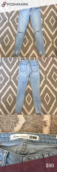Lovers + Friends Distressed Denim Light wash distressed skinny jean. Worn once. Fits a 25/26. Open to negotiate. Lovers + Friends Jeans Skinny