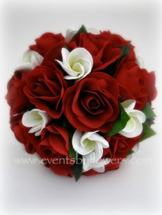 Real touch frangipani red roses wedding flowers bouquet. $110.00, via Etsy.