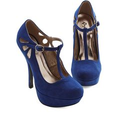 ModCloth And All That Pizzazz Heel ($45) ❤ liked on Polyvore featuring shoes, pumps, heels, sapatos, blue, evening shoes, heels & pumps, evening pumps, homecoming shoes and platform heels pumps