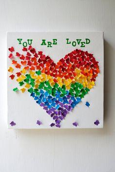 Art++papillon+personnalisé+coeur+Wall+Art++couleurs+de