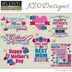 DIGITAL DOWNLOAD ... Mother's Day vectors in AI, EPS, GSD, & SVG formats @ My Vinyl Designer #myvinyldesigner #kwdesigns