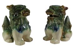One Kings Lane - Asian Fusion - Blue & Green Foo Dogs, Pair
