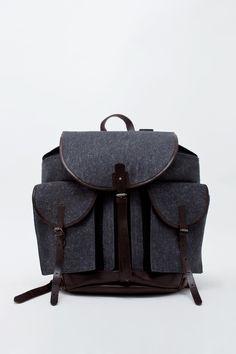 Dries Van Noten  Wool Leather Backpack
