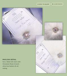 Pavlova Ivory Silk Invitation with Rhinestones and Feathers Wedding Invitation Layout, Luxury Wedding Invitations, Wedding Stationary, Ivory Silk, Pavlova, Flower Brooch, Pretty Little, Veil, Feather