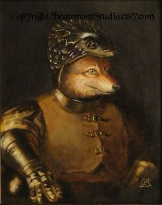 illustration, painting, animal, knight. Beaumont Studio, card of one-eyed fox.