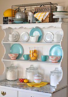 Summer Hutch Decor { open kitchen cabinets }