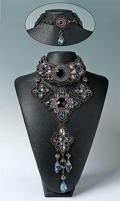 Black Swan - Guzialia Reed  Bib-Style Necklace with SWAROVSKI ELEMENTS, Seed Beads and Metal Beads
