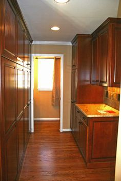 cabinets on half wall.