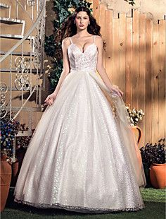 A-line/Princess Spaghetti Straps Floor-length Sequined And T... – USD $ 247.99