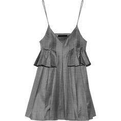 Alexander Wang Pleated mélange wool dress ($500) ❤ liked on Polyvore featuring dresses, tops, vestidos, vestiti, grey, overlay dress, loose dresses, grey wool dress, short grey dress and short dresses