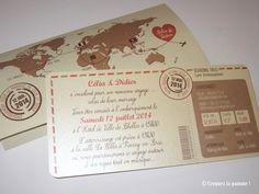 Faire-part Mariage Voyage  Wedding Invitation Travel Plane World Sur-mesure par Croquez la pomme !