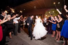 Photo courtesy of Footstone Photography #wedding #sparklers #sendoff