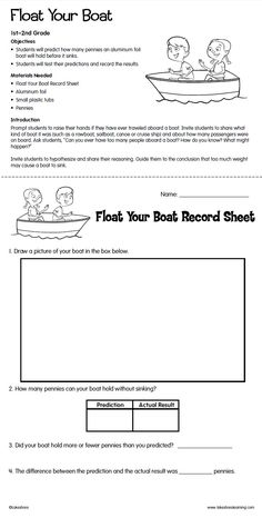 Float Your Boat Lesson Plan from Lakeshore Learning: Students predict how many pennies an aluminum foil boat will hold before it sinks!
