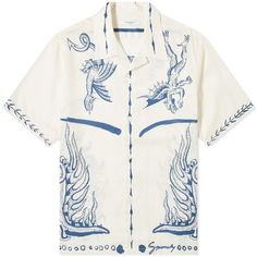 Buy the Givenchy Icarus Hawaiian Shirt in Ecru from leading mens fashion retailer END. - only Fast shipping on all latest Givenchy products Printed Shirts, Shirt Style, Cool Outfits, Shirt Designs, Street Wear, Menswear, Textiles, Street Style, Mens Fashion