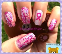 Breast Cancer Awareness mani.  Images are from Dashica stamping plates. Nail Stamping.