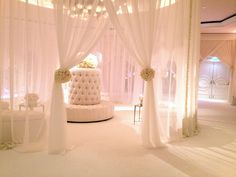 A Beautiful Four Seasons Wedding | White Sheer Fabric | Tufted Banquettes, Lounges