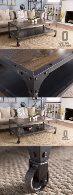 Shop our Living Room Collection now! The Factory Metal Coffee Table features a solid, jointed wood top with a steel lower shelf. Metal rivets and casters add to the industrial look of this cocktail table. Living Room, Custom Built Furniture, Casters, Rivets, Metal, Solid Wood, Modern Industrial, Rustic, Modern Farmhouse