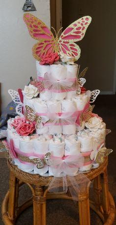 Butterfly diaper cake for baby girl.