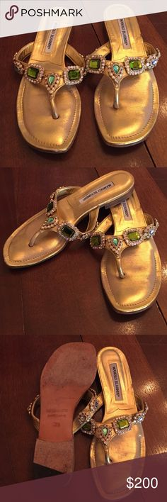 Jeweled Metallic Leather Thong in Gold Good thing sandal with Teal, Green, and Purple jewels. Manolo Blahnik Shoes Sandals