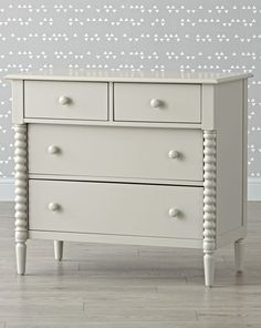 Shop Jenny Lind 4-Drawer Light Grey Dresser.  Adorned with intricate wood turnings, this grey dresser offers a timeless take on the classic Jenny Lind style.  It features four roomy drawers and coordinates perfectly with our Jenny Lind beds and furniture.