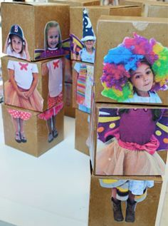 Mix & Match Dolls // Up Cycled Box Dolls – Kids Art Classes, Camps, Parties and Events – Small Hands Big Art For carnival, each student will create their own costume, using wooden boxes.