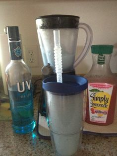 UV Blue Raspberry Vodka,  Simply Lemonade  with Raspberry, Ice and a cheap Walmart blender=yummy frozen drink