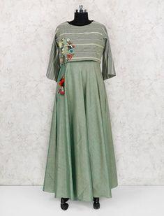 Green hue cotton festive wear long kurti Simple Kurti Designs, Kids Dress Wear, A Line Kurti, Designer Kurtis Online, Kurta Patterns, Fashion Drawing Dresses, Cotton Gowns, Kurti Styles, Kurta Neck Design