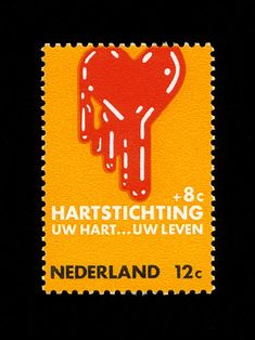 Dutch stamp design for the heart foundation.