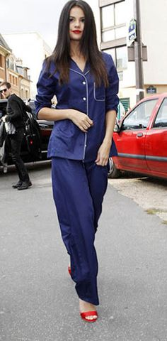 navy blue pajama outfit worn by Selena Gomez