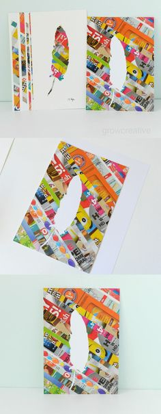Junk Mail Art tutorial - cut junk mail flyers into strips to create a colourful recycled piece of art!