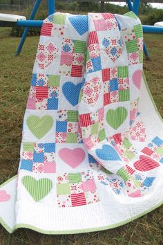 Blue, green, pink, red...cute girl quilt!