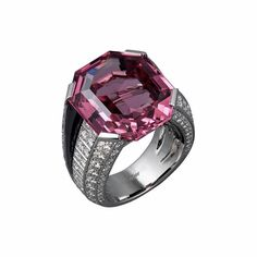 CARTIER. Ring - platinum, one 20.02 carat emerald-cut pink spinel, onyx, brilliant-cut diamonds. #Cartier #CartierRoyal #2014 #HauteJoaillerie #HighJewellery #FineJewelry #Spinel #Onyx #Diamond