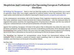 Skepticism And Contempt Color Upcoming European Parliament Elections, BP Holdings Tax Management